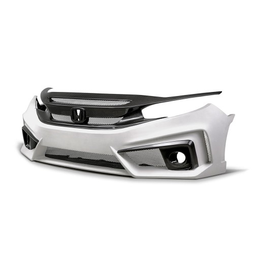 TT-STYLE FIBREGLASS / CARBON FIBRE FRONT BUMPER FOR 2016-2019 HONDA CIVIC SALOON*