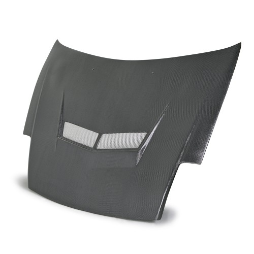 VSII-style silver string carbon bonnet for 2000-2005 Mitsubishi Eclipse