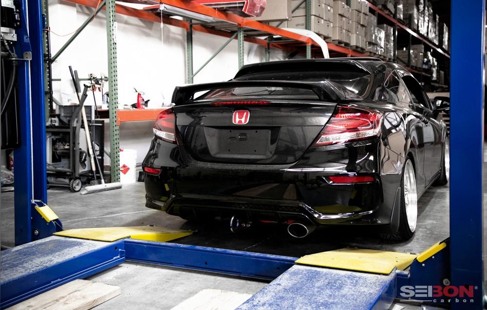 Si Style Carbon Fibre Rear Spoiler For 2014 2015 Honda Civic Coupe